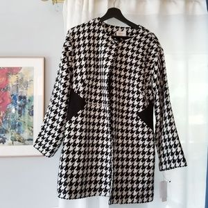 Laundry by Shelli Segal Houndstooth Coat 10 NWT